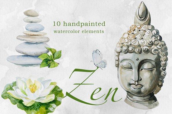 Download Watercolor Zen Clipart Set