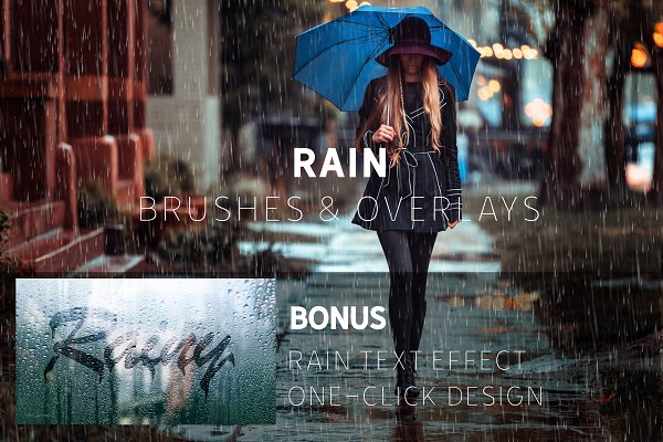 Download Rain Effect TEXT & Overlays & Brush