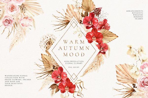 Download Warm autumn- watercolor floral set