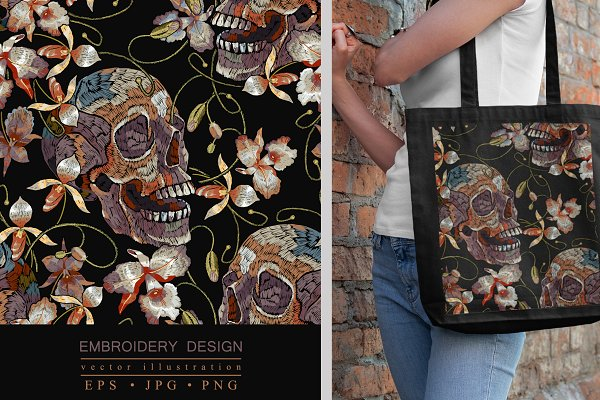 Download Embroidery vintage skull and orchids