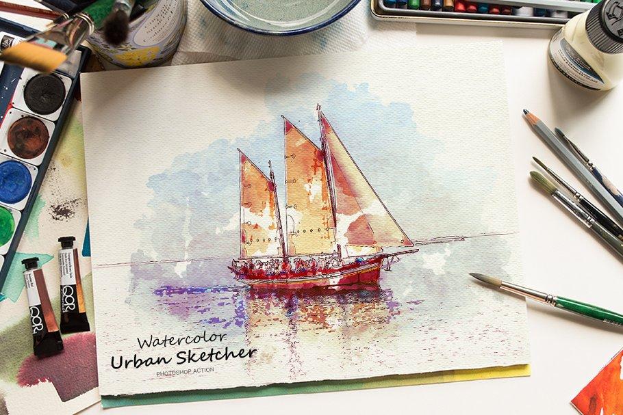 Download Watercolor Urban Sketcher PS Action