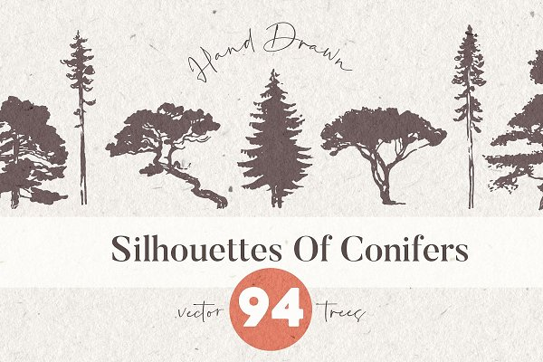 Download Silhouettes of pine and fir trees