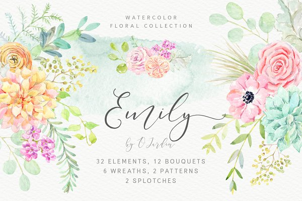 Download Emily. Watercolor floral collection