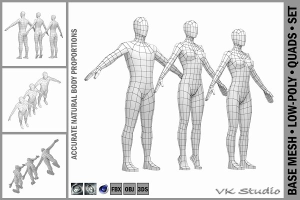 Download Male and Female Base Mesh in A-Pose