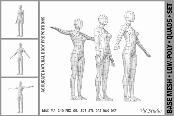 Download Female Base Mesh In 3 Modeling Poses