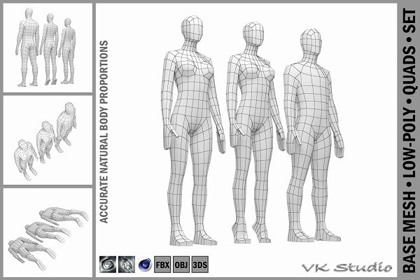 Download Male and Female Low Poly Base Mesh