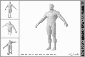 Download Bodybuilder Male Base Mesh in A Pose
