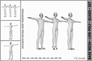 Download Female and Male Base Mesh T-Pose