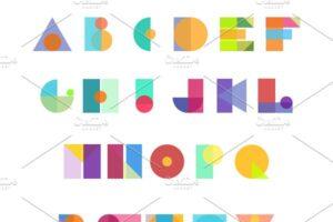 Download Alphabet geometric letters vector