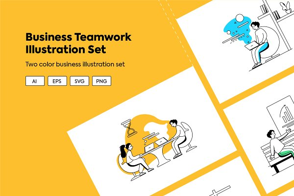 Download Business Teamwork Illustration Set