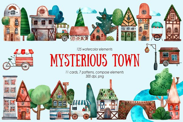 Download Mysterious Town - Watercolor Set
