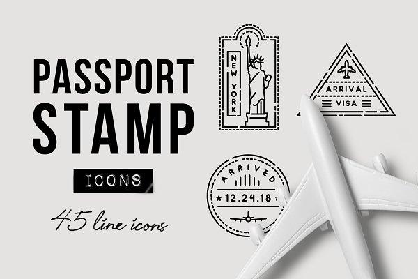Download 45 Passport Stamp Icons - Travel