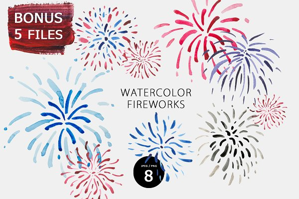 Download Watercolor fireworks