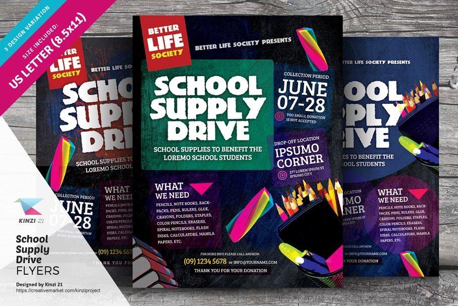 Download School Supply Drive Flyer Templates