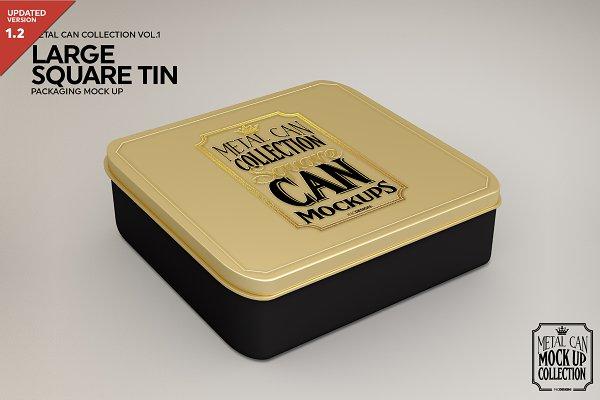 Download Large Square Tin Packaging Mockup