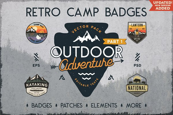 Download Retro Camp Badges / Outdoor Stickers