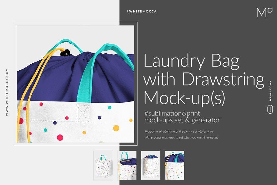 Download Laundry Bag With Drawstring Mock-ups
