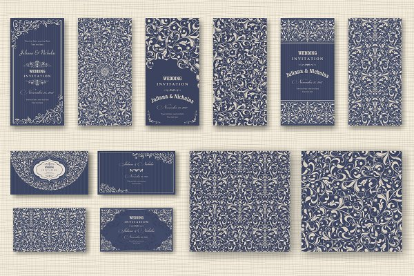 Download Wedding Set. Pattern and Invitation.