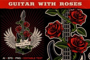 Download Guitar With Roses