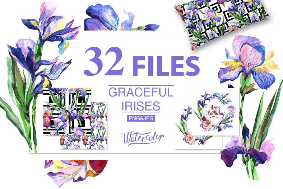 Download Irises PNG watercolor flowers set
