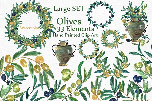 Download Watercolor Olive clip art set