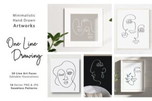 Download One Line Drawings. Faces & Patterns