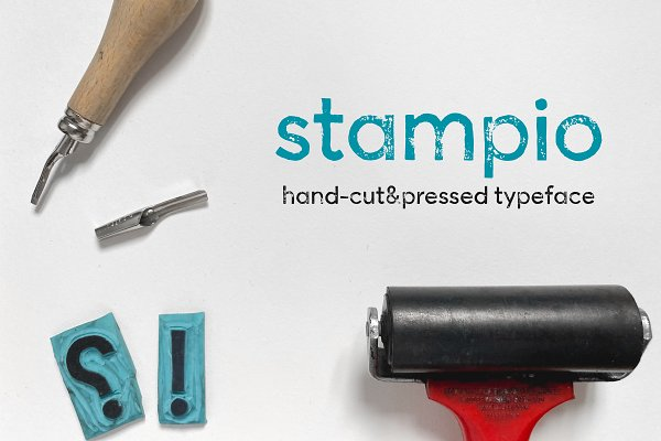 Download Stampio   Hand-made stamp typeface