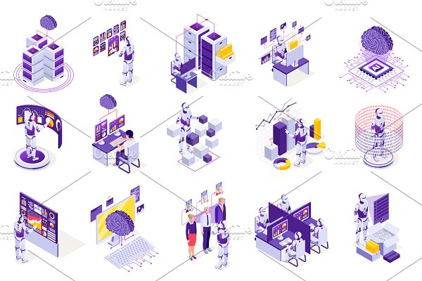 Download Robotic process isometric icons