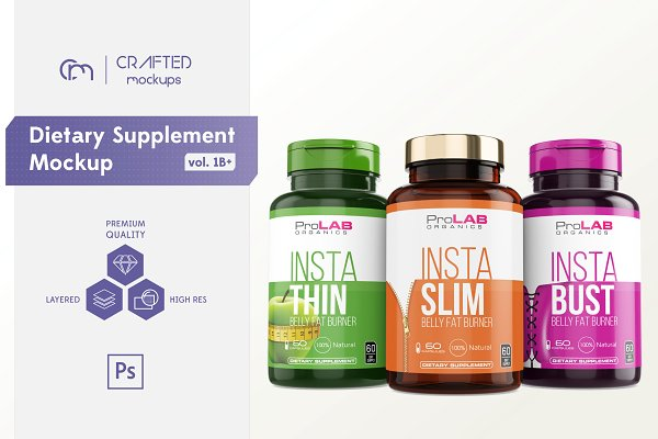 Download Dietary Supplement Mockup v. 1B Plus