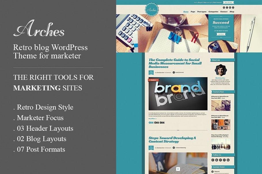 Download Arches Retro Blog Marketing WP Theme