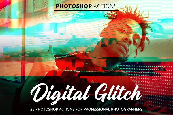 Download Digital Glitch Actions for Photoshop