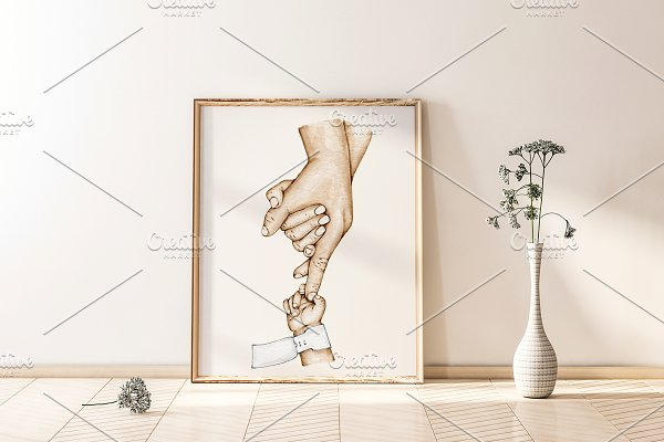Download New Family Preemie Holding Hands Art
