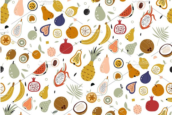 Download Seamless vector with fruits on white