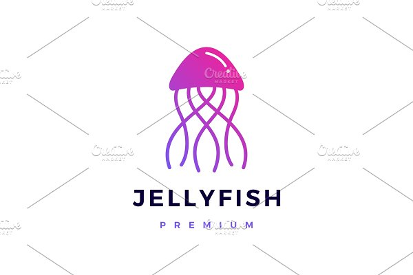 Download jelly fish logo vector icon
