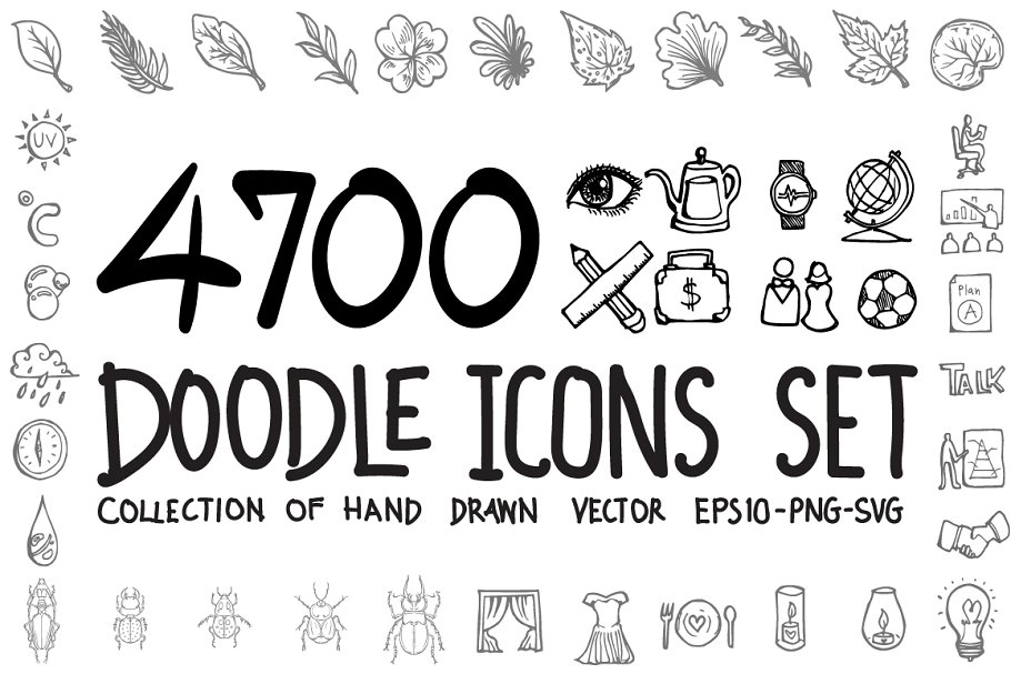 Download 4700 Hand Drawn doodle Icons