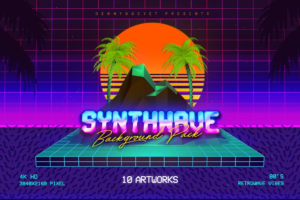 Download Synthwave Retrowave Background Pack