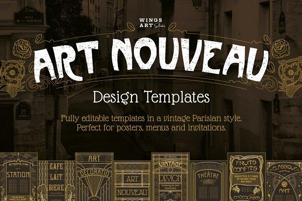 Download Art Nouveau Backgrounds and Frames