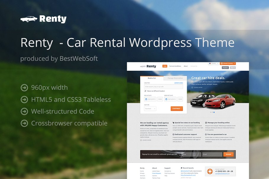 Download Renty - Car Rental WordPress Theme