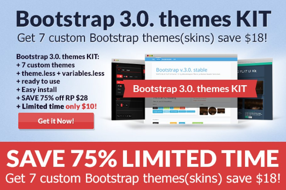 Download Bootstrap 3.0. Theme Pack SAVE 50%