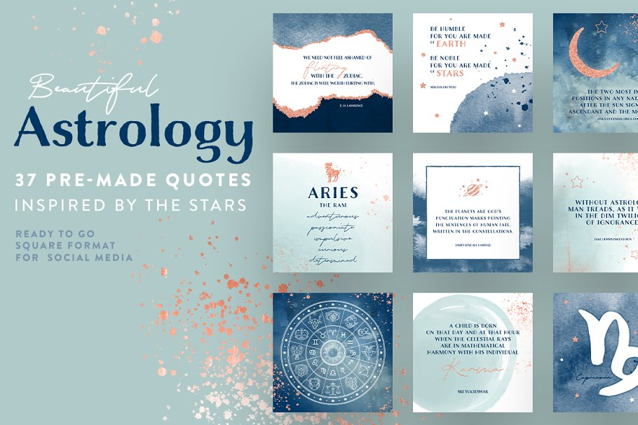 Download Beautiful Astrology pre-made quotes