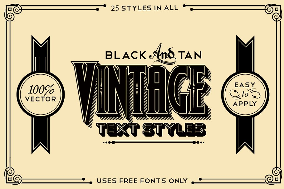 Download Black and Tan Vintage Styles Pack