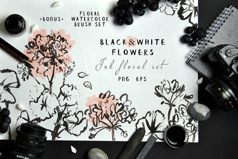 Download Black&White Flowers - Ink floral set