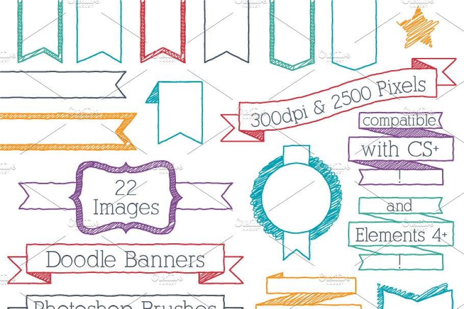 Download Doodle Banners Photoshop Brushes