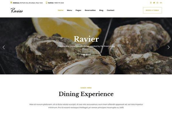 Download Ravier Restaurant Food Bar Theme