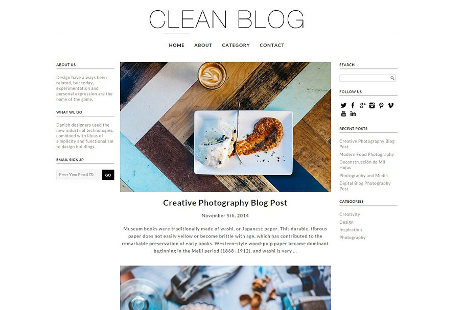Download Clean Blog Responsive WP Theme