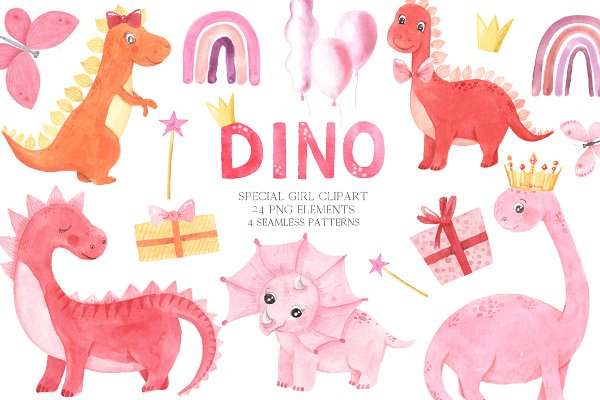 Download Watercolor Dinosaurs Girl clipart