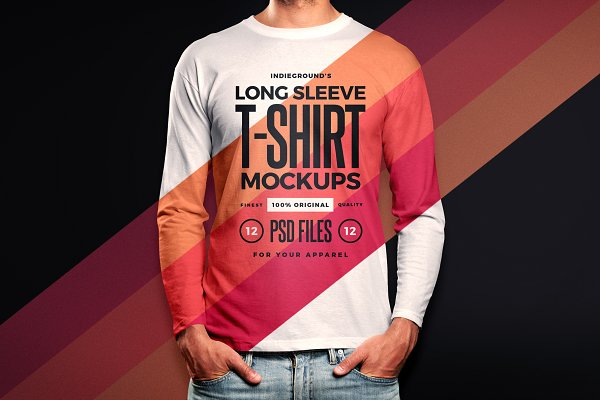 Download Men Long Sleeve T-Shirt Mockups