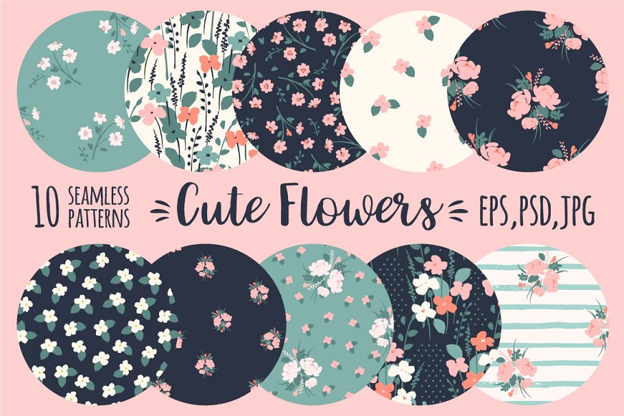 Download Cute flowers. 10 seamless patterns.