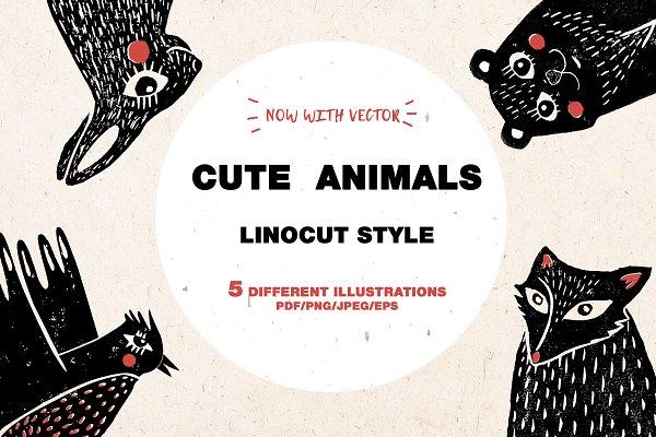 Download CUTE ANIMALS | Linocut | Vintage