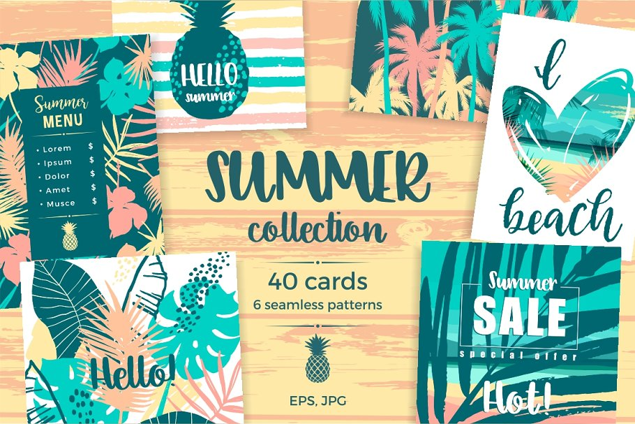 Download Summer collection. Cards & patterns.